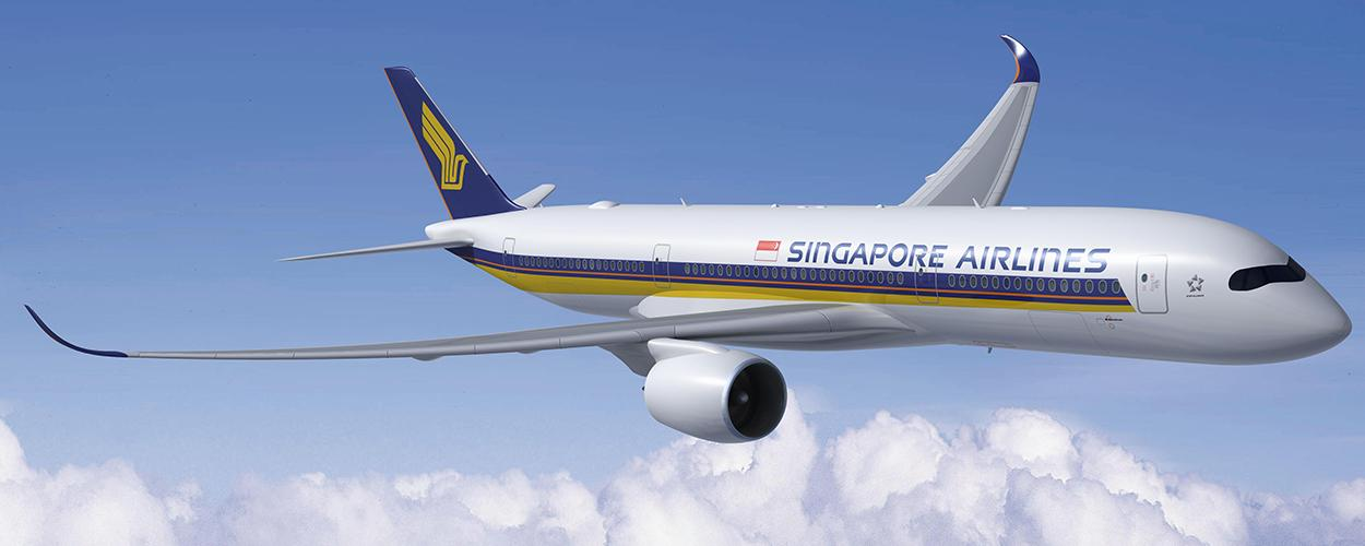 Singapore Airlines plane flying in blue skies