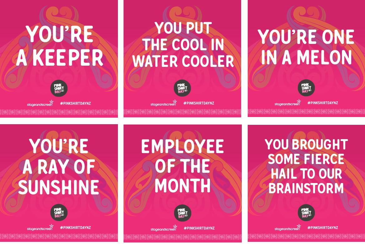Pink Shirt Day Compliment Tiles