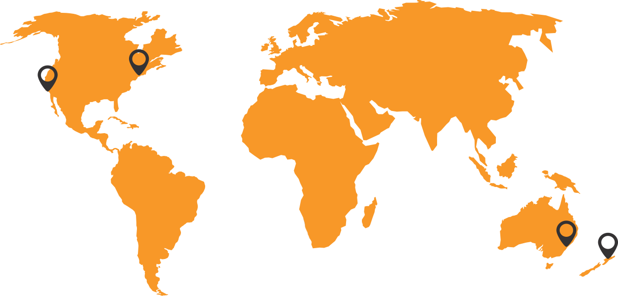 Orange map of the world with location pins in Australia, New Zealand, USA and Canada