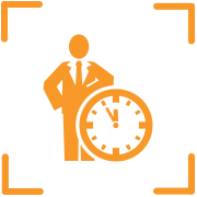 Icon of person in suit next to clock