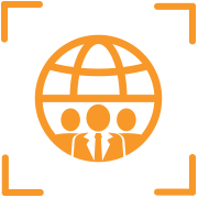 Icon of travel managers within a globe